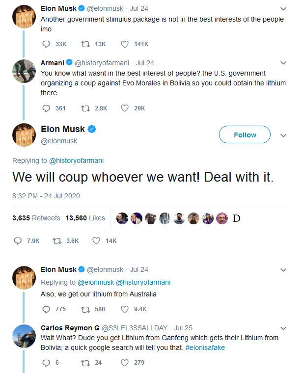 tweet of Elon Musk
